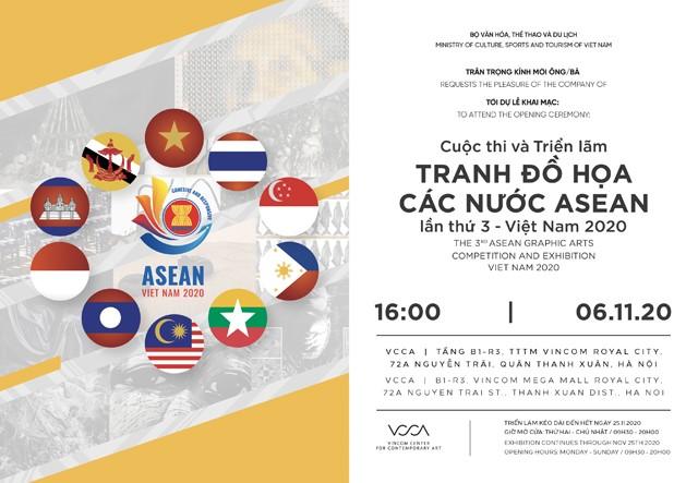 Giấy mời Lễ Khai mạc và trao Giải thưởng Cuộc thi và Triển lãm Tranh Đồ họa các nước ASEAN lần thứ 3 - Việt Nam 2020