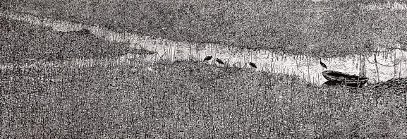 Đông về -2011, khắc gỗ, Huy Chương Đồng, Vũ Bạch Liên (Hà Nội)