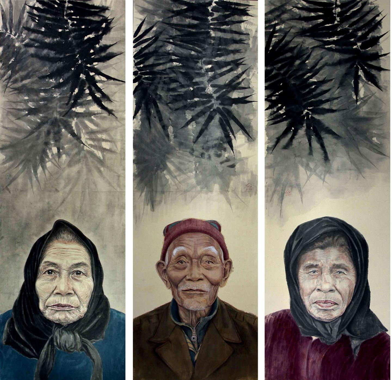 Người ở làng-2011, màu tự nhiên trên giấy Dó, Huy Chương Đồng, Trần Hoàng Sơn (Hà Nội)