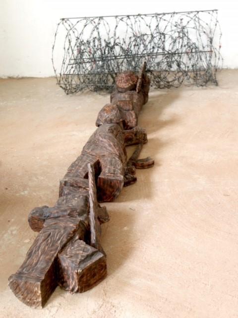 Bộ đội cụ Hồ tập trận, gỗ, Triệu Ngọc Thạch (Vĩnh Phúc)