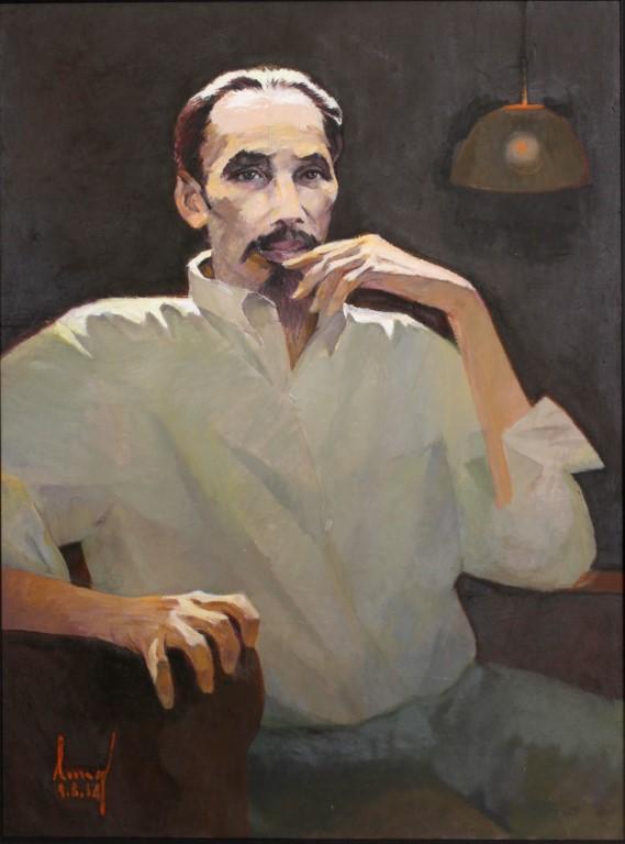 Hồ Chí Minh, con người vĩ đại của Tổ Quốc chúng ta, sơn dầu, Phạm Văn Lung (Hà Nội)