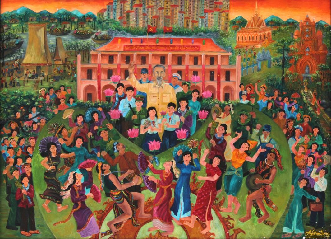 Miền Nam trong trái tim Bác, sơn dầu, Chế Thị Kim Chung (Ninh Thuận)