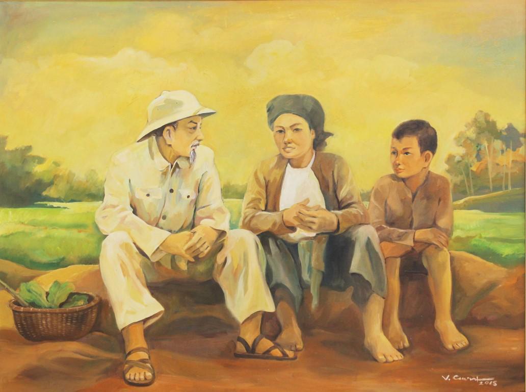 Bác Hồ với nông dân, sơn dầu, Vũ Hữu Cương (Điện Biên)
