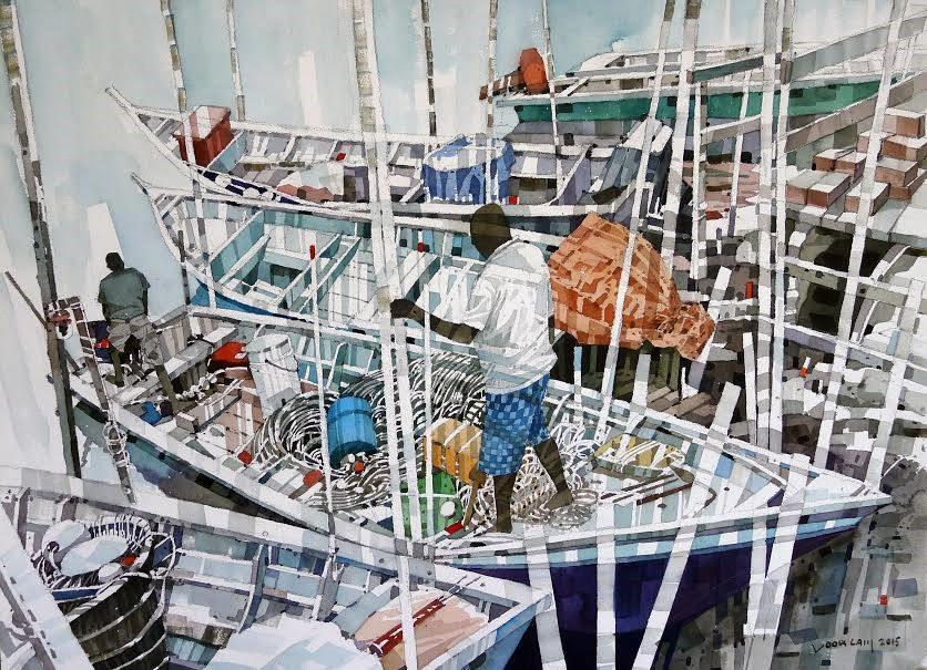 Bến cảng/ Habour, màu nước, Yong Look Lam (Malaysia)