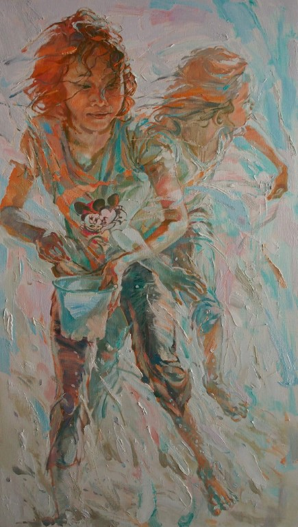 Những con sóng đuổi nhau số 5/ Chasing Waves No.5, sơn dầu trên vải, Chua Cheng Koon (Malaysia)