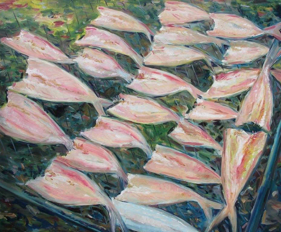 Cá phơi khô/ Dried Fishes, sơn dầu trên vải, Sumalee Ekachonniyom (Thái Lan)